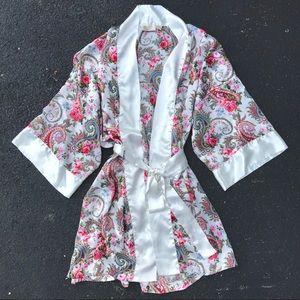 Victoria's Secret Vintage Floral Paisley Silk Robe
